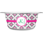 Linked Circles & Diamonds Stainless Steel Dog Bowl (Personalized)