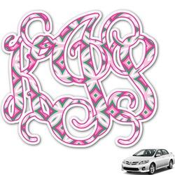 Linked Circles & Diamonds Monogram Car Decal (Personalized)