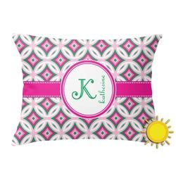 Linked Circles & Diamonds Outdoor Throw Pillow (Rectangular) (Personalized)