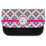 Linked Circles & Diamonds Canvas Pencil Case w/ Name and Initial