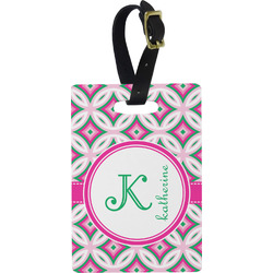 Linked Circles & Diamonds Rectangular Luggage Tag (Personalized)