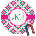 Linked Circles & Diamonds Round Magnet (Personalized)
