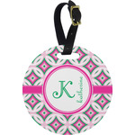 Linked Circles & Diamonds Round Luggage Tag (Personalized)