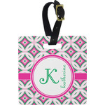Linked Circles & Diamonds Square Luggage Tag (Personalized)