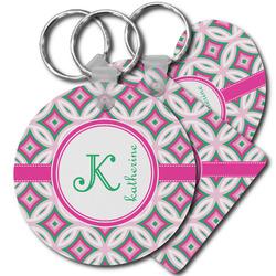 Linked Circles & Diamonds Plastic Keychains (Personalized)