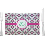 Linked Circles & Diamonds Glass Rectangular Lunch / Dinner Plate - Single or Set (Personalized)
