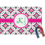 Linked Circles & Diamonds Rectangular Fridge Magnet (Personalized)