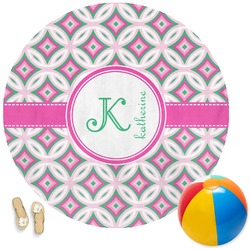 Linked Circles & Diamonds Round Beach Towel (Personalized)