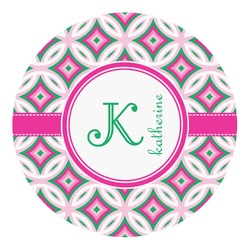 Linked Circles & Diamonds Round Decal - Custom Size (Personalized)