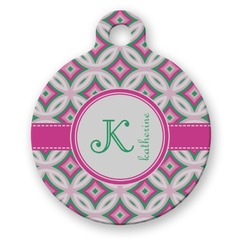 Linked Circles & Diamonds Round Pet Tag (Personalized)