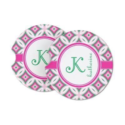 Linked Circles & Diamonds Sandstone Car Coasters (Personalized)