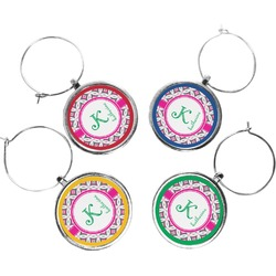Linked Circles & Diamonds Wine Charms (Set of 4) (Personalized)