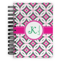 Linked Circles & Diamonds Spiral Bound Notebook - 5x7 (Personalized)