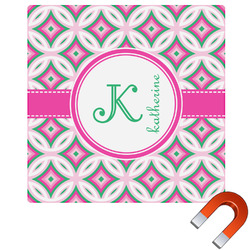 Linked Circles & Diamonds Square Car Magnet (Personalized)