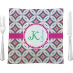 "Linked Circles & Diamonds Glass Square Lunch / Dinner Plate 9.5"" - Single or Set of 4 (Personalized)"