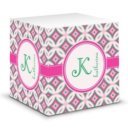 Linked Circles & Diamonds Sticky Note Cube (Personalized)