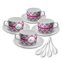 Linked Circles & Diamonds Tea Cup - Set of 4 (Personalized)