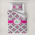Linked Circles & Diamonds Toddler Bedding w/ Name and Initial