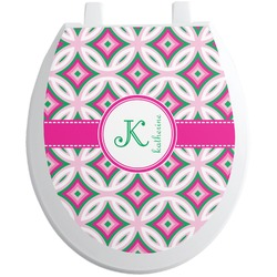 Linked Circles & Diamonds Toilet Seat Decal (Personalized)