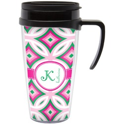 Linked Circles & Diamonds Travel Mug with Handle (Personalized)