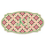 Linked Circles & Diamonds Genuine Maple or Cherry Wood Sticker (Personalized)
