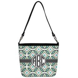 Geometric Circles Bucket Bag w/ Genuine Leather Trim (Personalized)