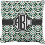 Geometric Circles Burlap Throw Pillow (Personalized)