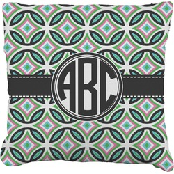 Geometric Circles Faux-Linen Throw Pillow (Personalized)