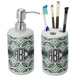 Geometric Circles Bathroom Accessories Set (Ceramic) (Personalized)