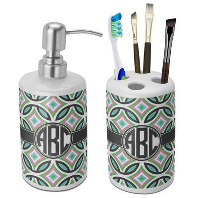 Geometric Circles Ceramic Bathroom Accessories Set (Personalized)