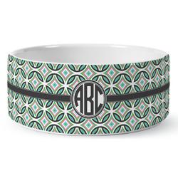 Geometric Circles Ceramic Dog Bowl (Personalized)