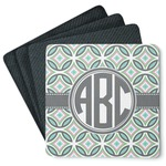 Geometric Circles 4 Square Coasters - Rubber Backed (Personalized)