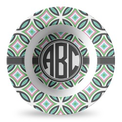 Geometric Circles Plastic Bowl - Microwave Safe - Composite Polymer (Personalized)