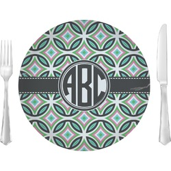 """Geometric Circles 10"""" Glass Lunch / Dinner Plates - Single or Set (Personalized)"""