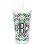 Geometric Circles Double Wall Tumbler with Straw (Personalized)