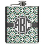 Geometric Circles Genuine Leather Flask (Personalized)