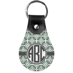 Geometric Circles Genuine Leather  Keychain (Personalized)