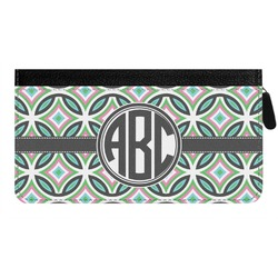 Geometric Circles Genuine Leather Ladies Zippered Wallet (Personalized)