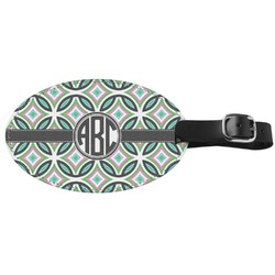 Geometric Circles Genuine Leather Oval Luggage Tag (Personalized)