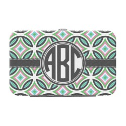 Geometric Circles Genuine Leather Small Framed Wallet (Personalized)