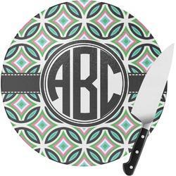 Geometric Circles Round Glass Cutting Board (Personalized)