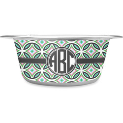 Geometric Circles Stainless Steel Pet Bowl (Personalized)