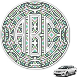 Geometric Circles Monogram Car Decal (Personalized)