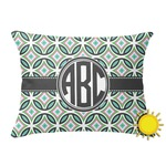 Geometric Circles Outdoor Throw Pillow (Rectangular) (Personalized)