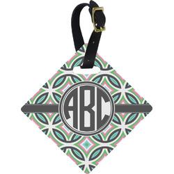 Geometric Circles Diamond Luggage Tag (Personalized)