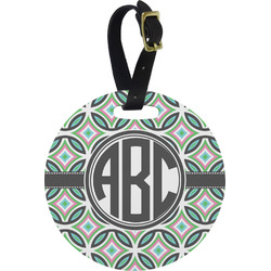 Geometric Circles Round Luggage Tag (Personalized)