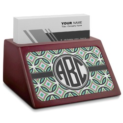 Geometric Circles Red Mahogany Business Card Holder (Personalized)