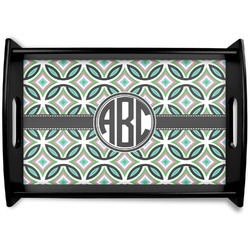 Geometric Circles Black Wooden Tray (Personalized)