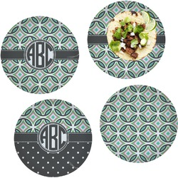 Geometric Circles Set of 4 Lunch / Dinner Plates (Glass) (Personalized)