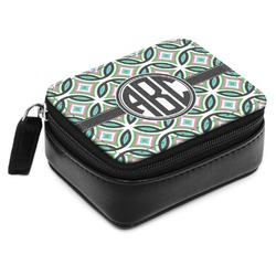 Geometric Circles Small Leatherette Travel Pill Case (Personalized)
